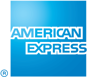 American Express with a blue background